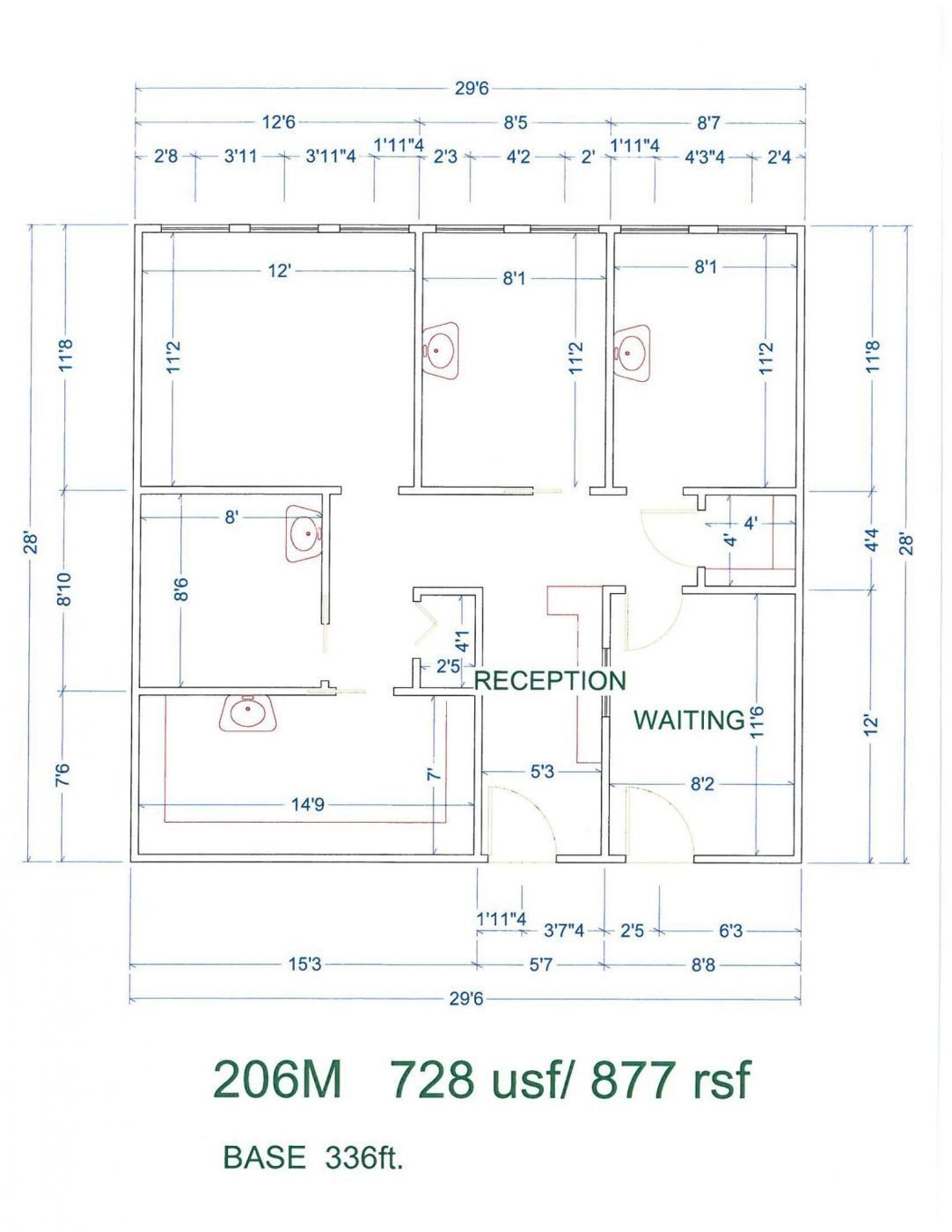 Floor Plan for unit 206M at 20905 Greenfield Rd - 2nd Floor Southfield, MI 48075