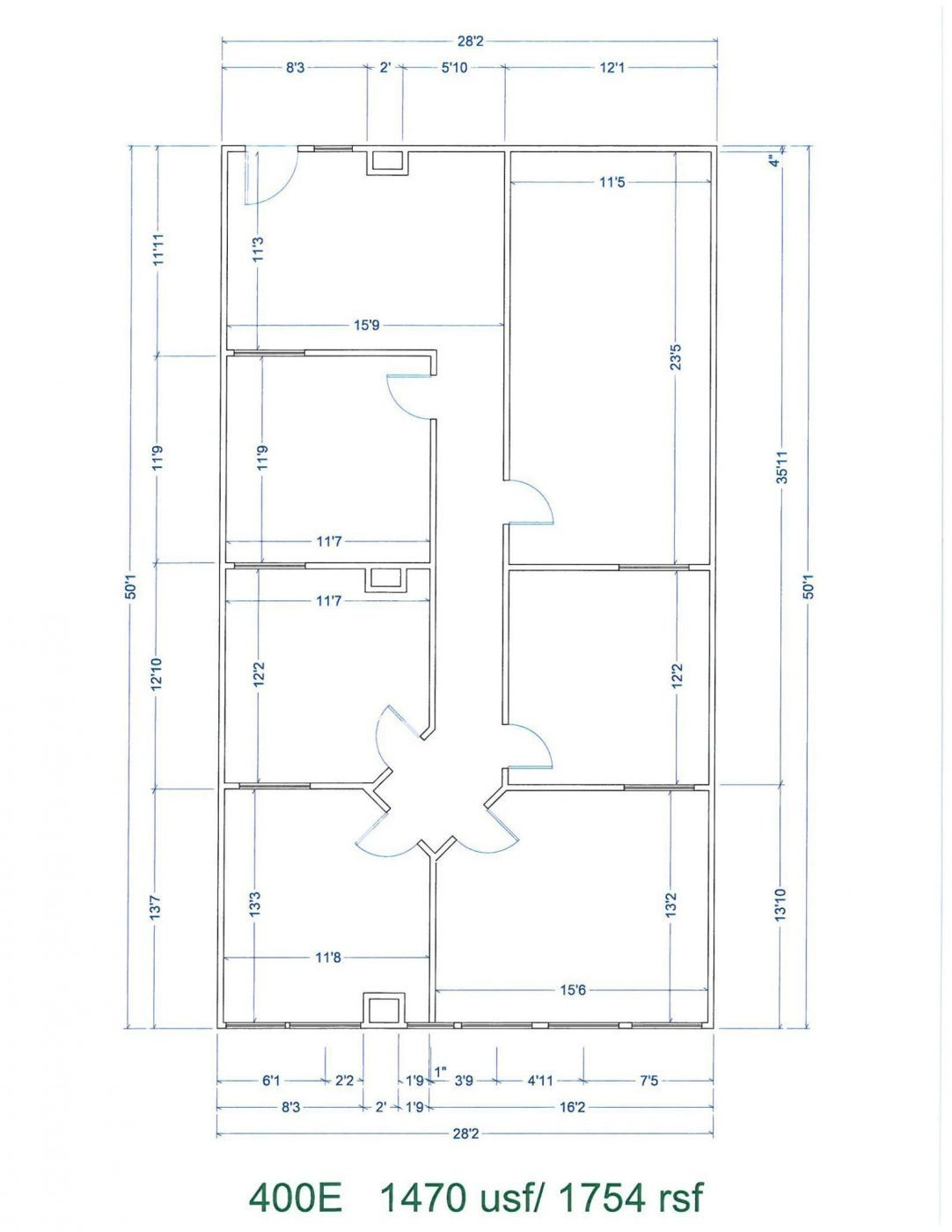 Floor Plan for unit 400E at 15565 Northland Dr Southfield, MI 48075