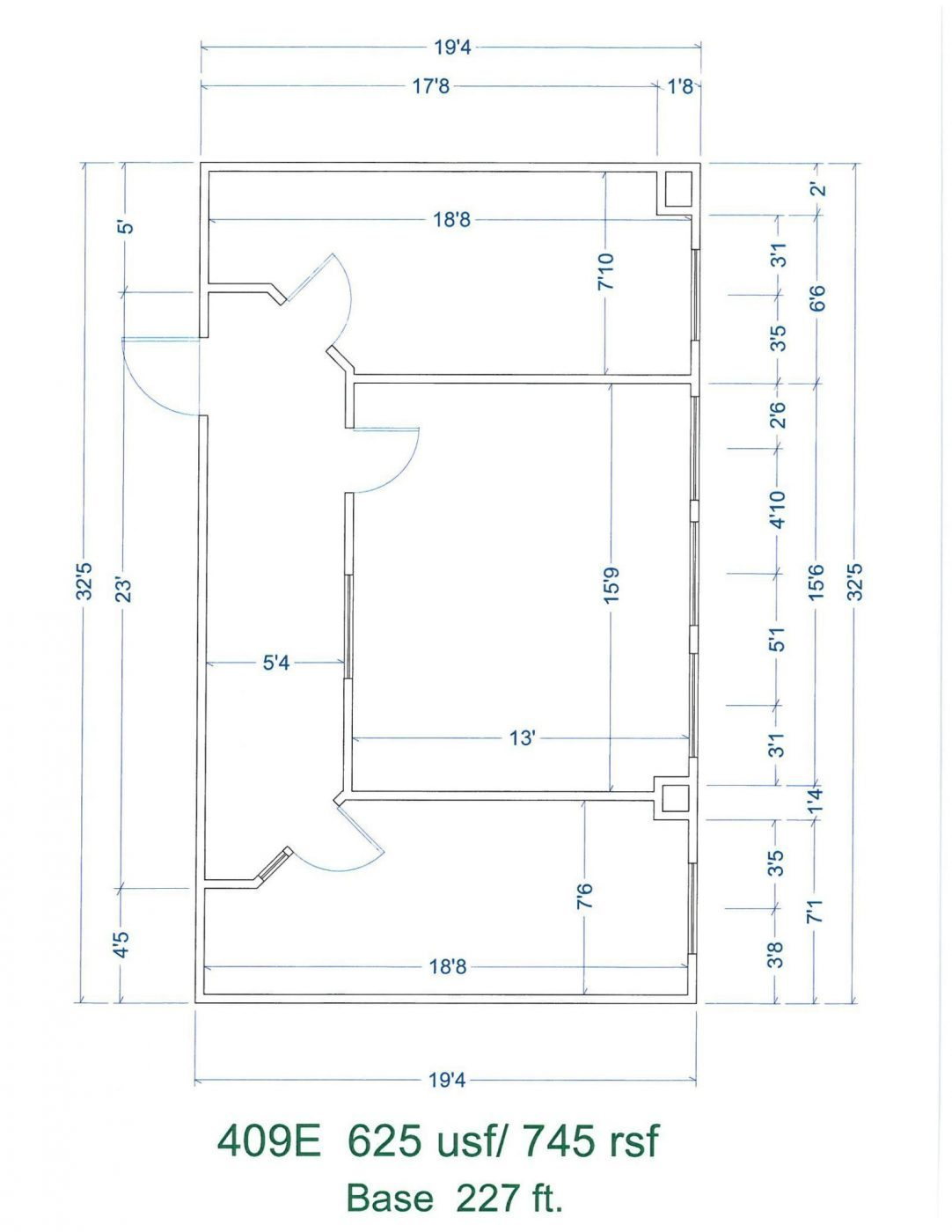 Floor Plan for unit 409E at 15565 Northland Dr, 15565 Northland Dr - East, 15565 Northland Dr Southfield, MI 48075