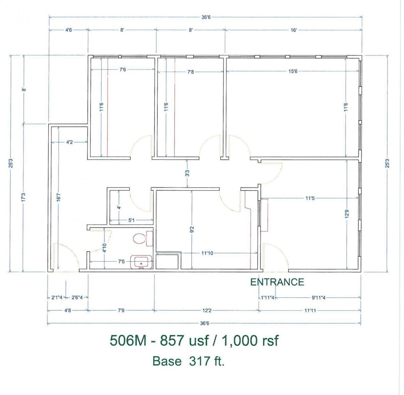 Floor Plan for unit 506M at 20905 Greenfield Rd - 5th Floor Southfield, MI 48075