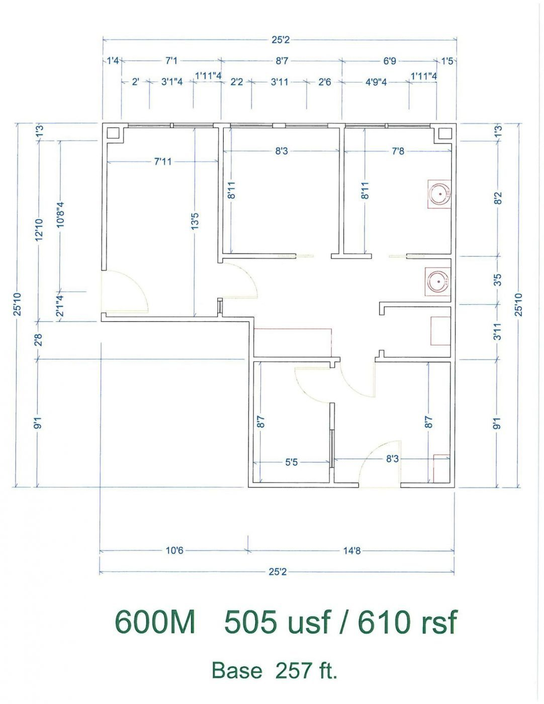 Floor Plan for unit 600M at 20905 Greenfield Rd - 6th Floor Southfield, MI 48075