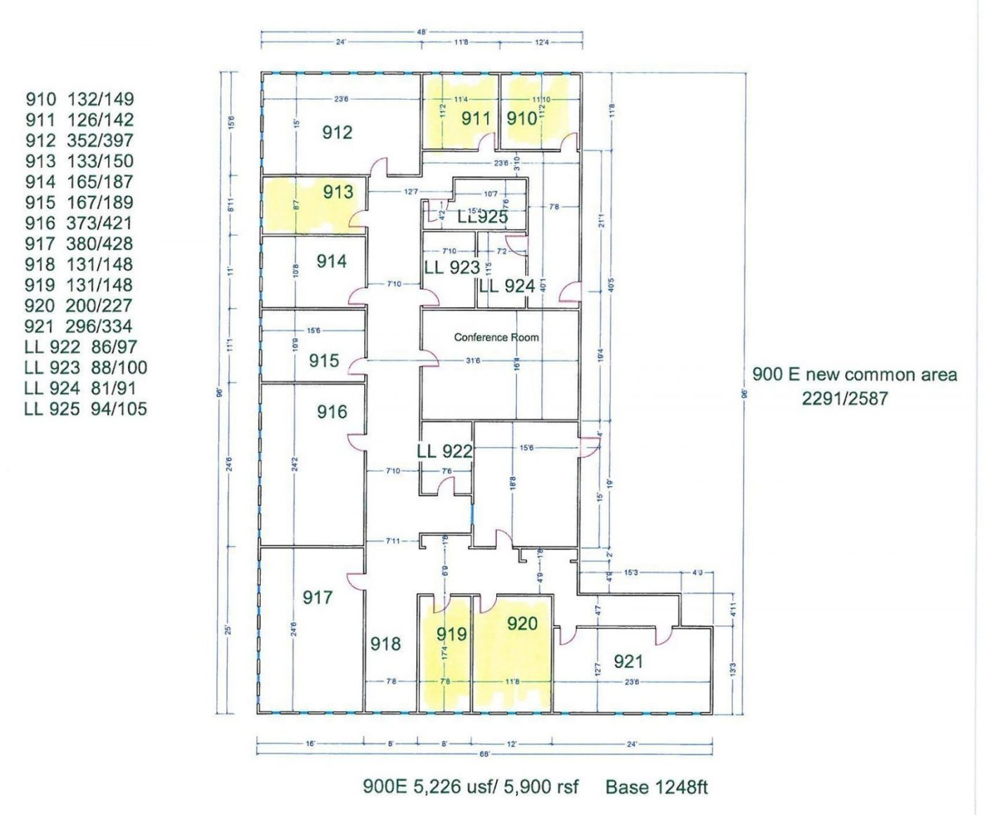 Floor Plan for unit 920E at 15565 Northland Dr Southfield, MI 48075