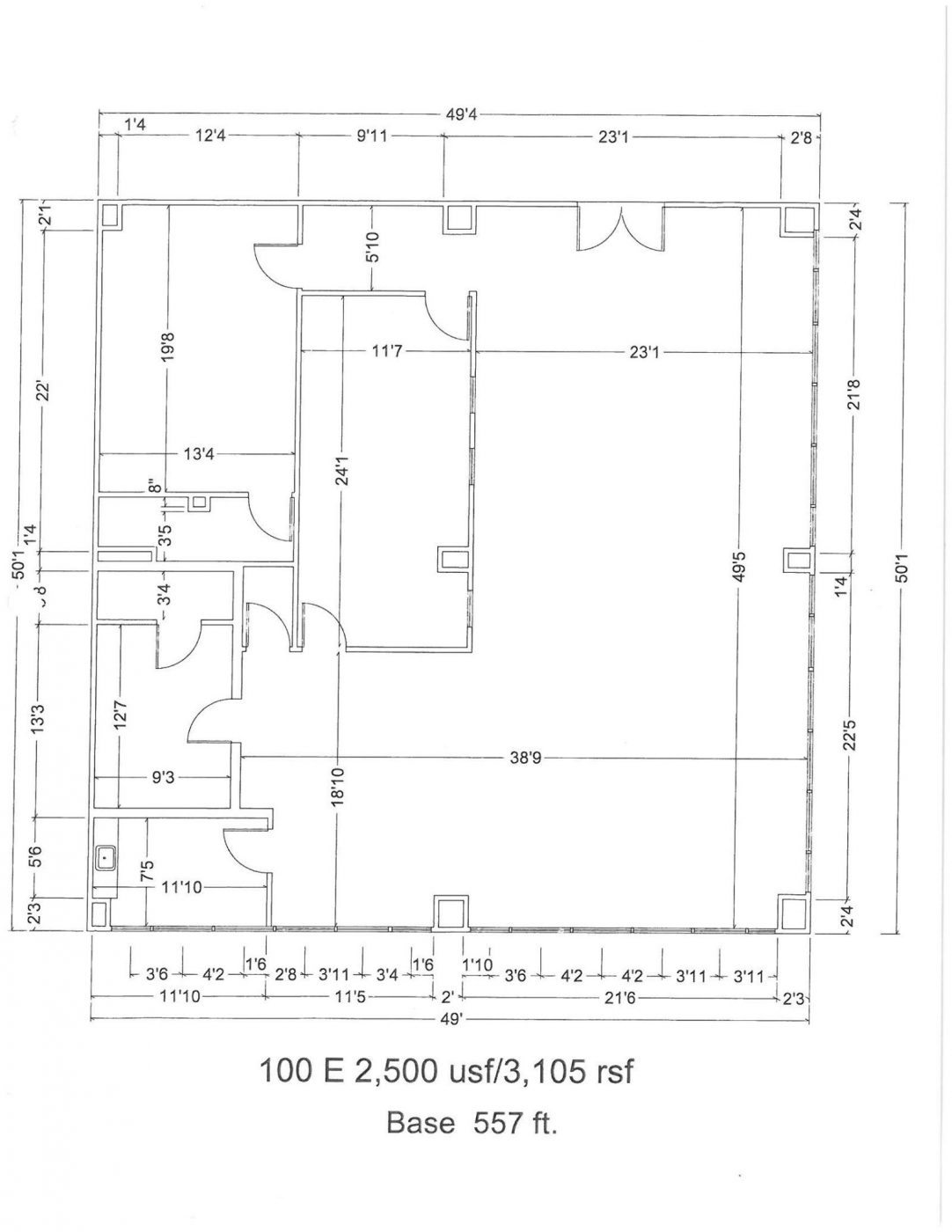 Floor Plan for unit 100E at 15565 Northland Dr Southfield, MI 48075