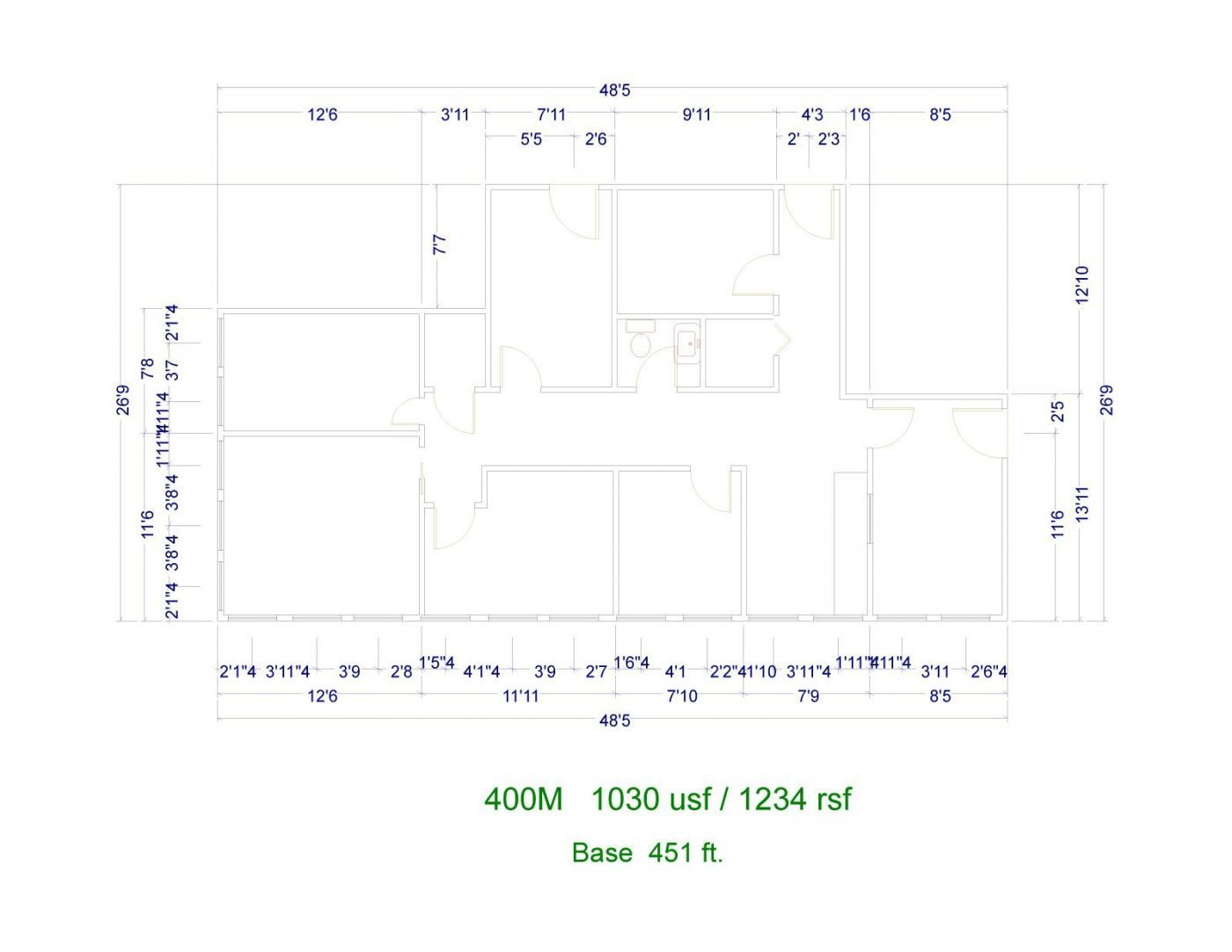 Floor Plan for unit 400M at 20905 Greenfield Rd - 4th Floor Southfield, MI 48075