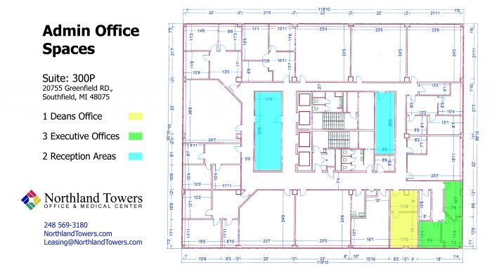 School space for lease featuring administrative offices