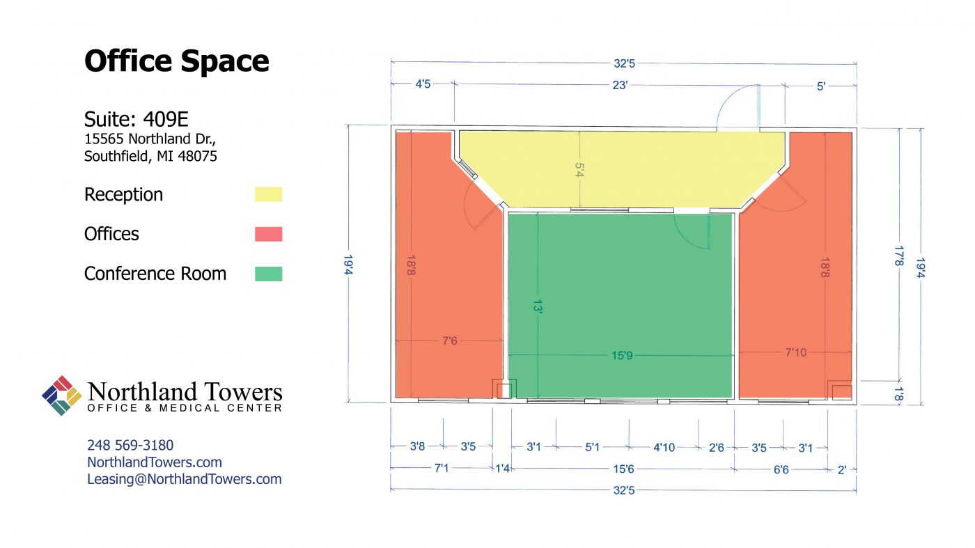 409E Office Space - Highlighted Floor Plan