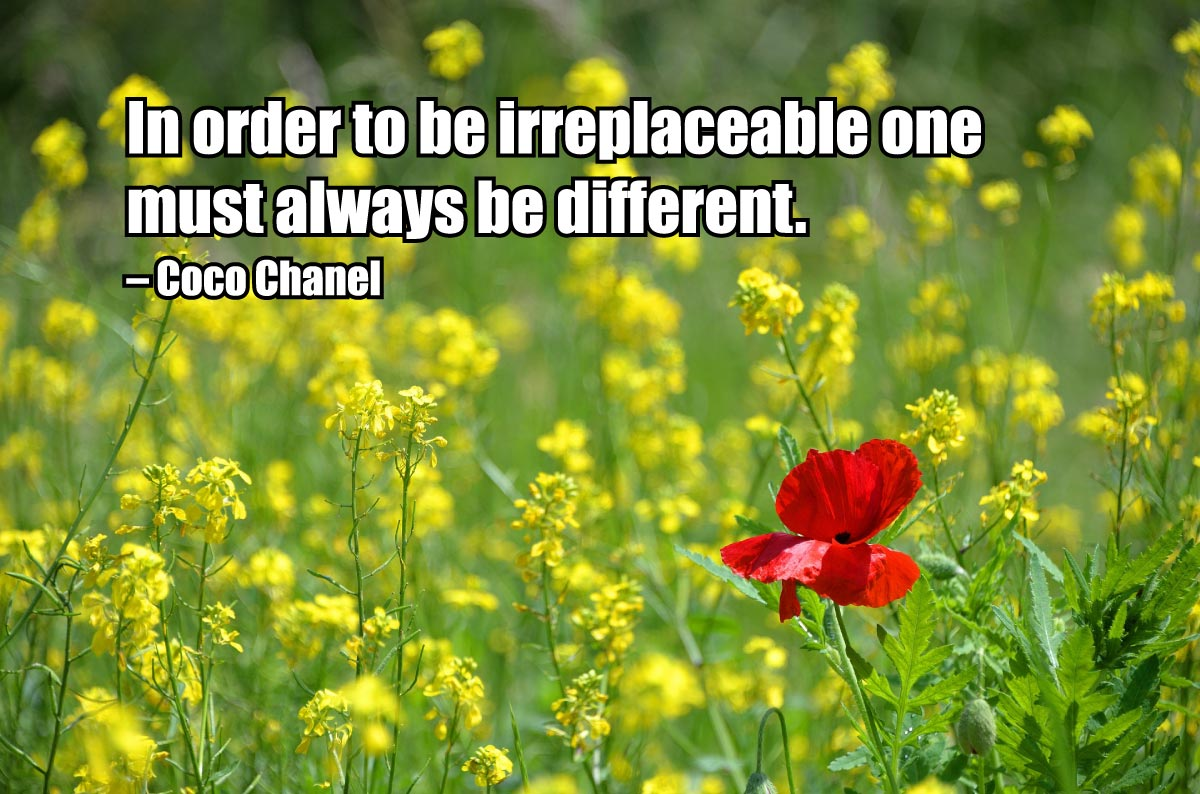In order to be irreplaceable one must always be different. — Coco Chanel