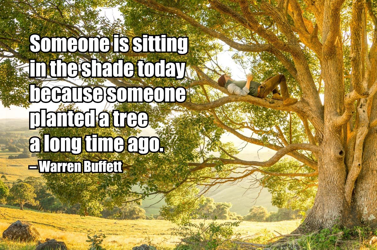 Someone is sitting in the shade today because someone planted a tree a long time ago. —Warren Buffett
