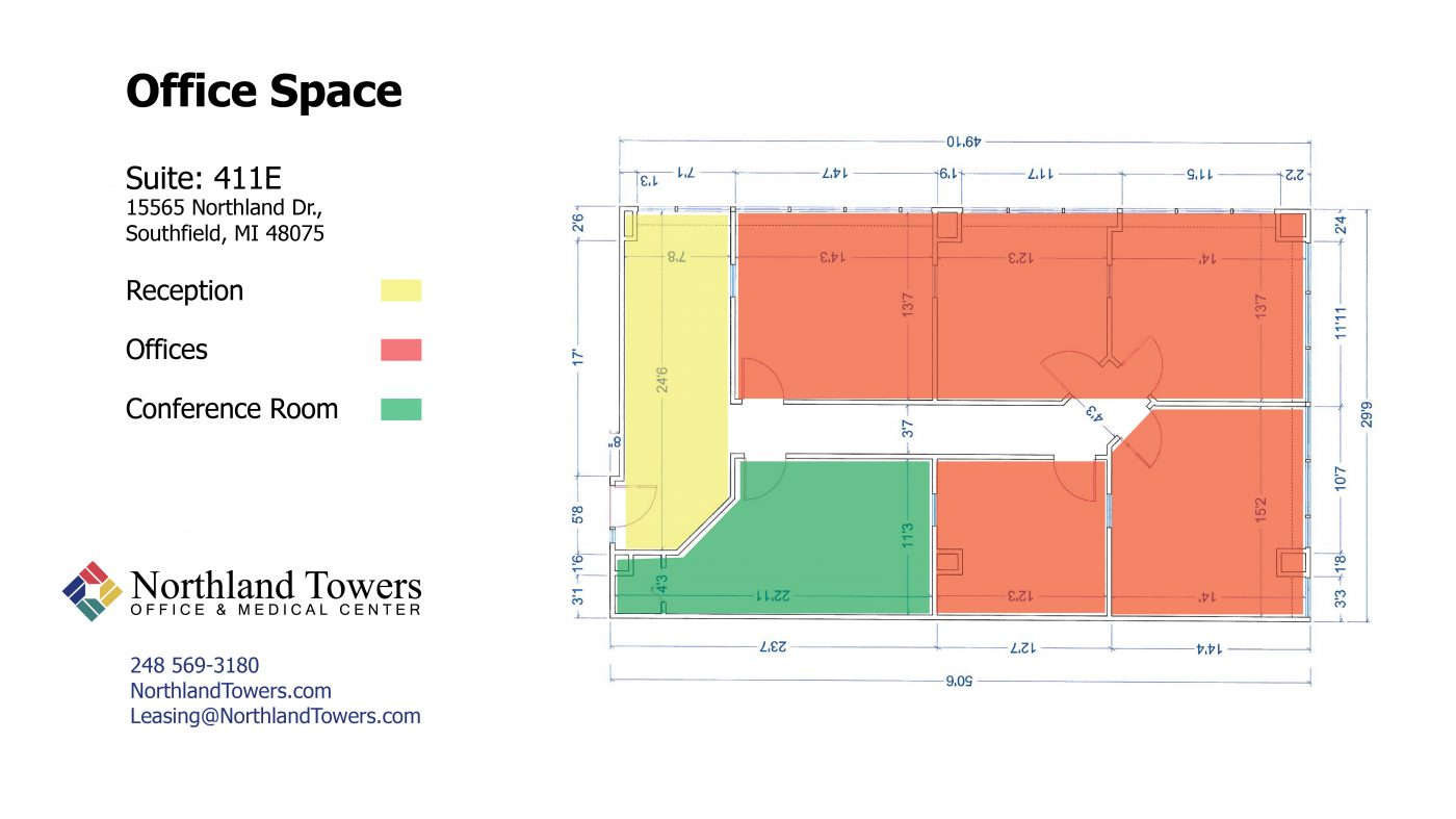 411E Office Space - Highlighted Floor Plan