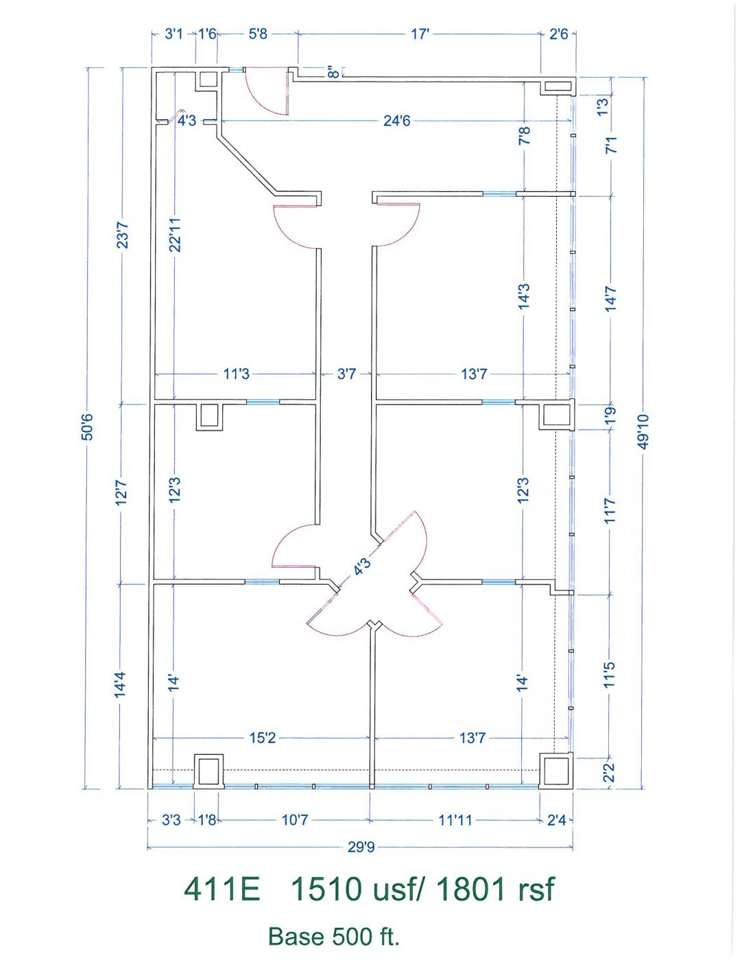 Floor Plan for unit 411E at 15565 Northland Dr, 15565 Northland Dr - East, 15565 Northland Dr Southfield, MI 48075